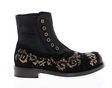 NWT $3400 DOLCE & GABBANA Black Leather Gold Baroque Boots Shoes EU44 / US11