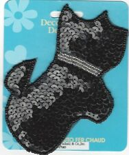 Black Scotty Dog  Iron-On Applique Sequins & Beads Sewing Fabric Embellishment