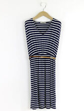Oasis Womens Navy Breton Striped Belted Dress Size XS (UK Size 8/10)