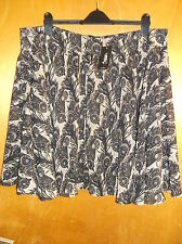 "Ayarisa Peacock Feather Print Fully Lined Skirt UK 20 L 23"" Black Mix BNWT"