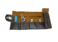 6 CHOCOLATE BROWN MENS LEATHER TRAVEL WATCH POUCH STORAGE ROLL ORGANIZER CASE