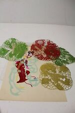 Vtg. Lot of 5 Chinese Folk Art / Paper Cuts - Jianzhi Cutting ~ Dragons & Geisha