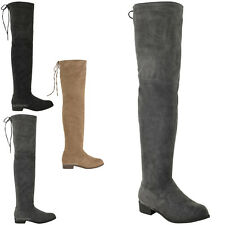 WOMENS LADIES LOW HEEL THIGH HIGH OVER THE KNEE STRETCH RIDING BOOTS SIZE