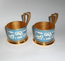 1950's PAIR VINTAGE RUSSIAN GOLD PLATE CLOISONNE ENAMEL TEA GLASS CUP HOLDER