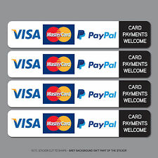 REF2537 4 x Card Payments Sticker Credit Card Taxi Shop VISA Mastercard