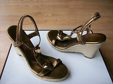 Diane von Furstenberg Harlot Shoes Wedge Espadrille Bronze Studded sz 8.5 NEW