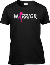 Warrior Text with Pink Ribbon Survivor Breast Cancer Awareness Month Womens Tee