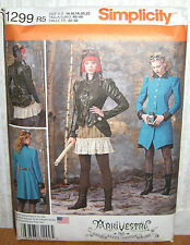 Misses Steampunk Costumes Coats Jacket Sewing Pattern/Simplicity 1299/SZ 14-22/N