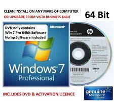 Windows 7 Professional SP1 64bit HP DVD - Will INSTALL ON ANY COMPUTER + Licence