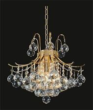 """Brand NEW CRYSTAL Mini-CHANDELIER, (D16"""" x H20"""") *GOLD* Ceiling Fixture 6 lights"""