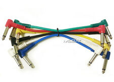 "6"" Right Angle Guitar Pedal Audio Patch Cables 1/4"" to 1/4""  6-Pack NEW"