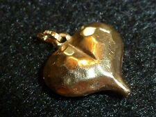 """10K YELLOW GOLD HEART PENDANT WITH """"HAMMERED"""" FINISH"""