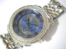 Iced Out Bling Bling Big Case Hip Hop Techno King Men's Watch Silver Item 2719