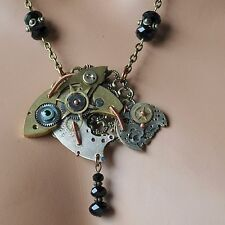 Kette *steampunk Halskette *fish Uhrwerk -Teile Glasperlen schwarz Fisch Zahnrad