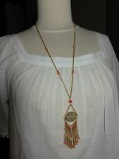 NWT Ann Taylor  LOFT Oranges and Gold Chain Long Necklace