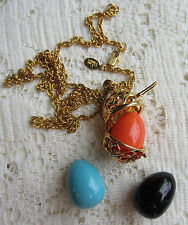 VINTAGE STYLE Joan Rivers GOLD TONE OPEN WORK EGG BASKET NECKLACE PENDANT 3 EGGS