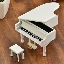 WOOD WHITE PIANO WIND UP MUSIC BOX : ITS A SMALL WORLD