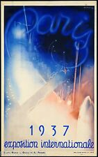 1937 Exposition Internationale Paris Vintage Travel Art Advertisement Poster