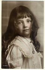 Striking Young Girl Portrait, Antique ROTARY Real Photo Postcard