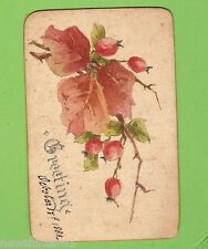 1885  HAND PAINTED  GREETING CARD