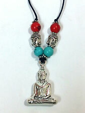 TIBETAN MEDITATING BUDDHA AMULET PENDENT IN WHITE METAL FOR PEACE AND PROSPERITY
