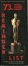 73rd ACADEMY AWARDS OSCARS 2000-2001 Reminder List Program: Gladiator, Traffic