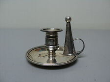 19th C. MINIATURE ENGLISH STERLING SILVER CHAMBERSTICK with SNUFFER, 1828-29