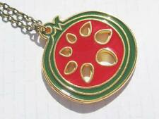 Pomegranate Fruit red and gold tone small pendant necklace
