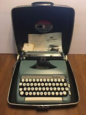 Vintage 1967 Smith Corona STERLING Compact Portable Manual Typewriter Blue Case