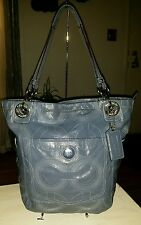 Coach 14265 Alex Stitched Signature periwinkle Patent Leather Tote Handbag