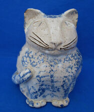 Studio Art Pottery CAT BELL Tan Blue Sponge Bertice McPherson Clapper Mice 5.5""