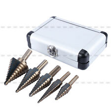 Brand New 5Pcs Cobalt HSS Step Titanium Cone Drill Hole Cutter Bit Set Tool+Case