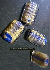4 Gold foiled and cobalt art glass lampwork beads gold banding rectangle gbs010