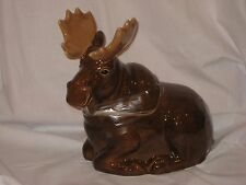 """Sonoma Lifestyle """"Into The Woods"""" Holiday Lodge Pattern Ceramic Moose Cookie Jar"""