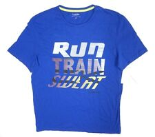 "NEW CALVIN KLEIN PERFORMANCE BLUE ""RUN TRAIN SWEAT"" ATHELTIC T-SHIRT SZ L *STAIN"