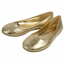 Ladies Flat Ballerina Ballet Pumps Casual Shoes Size UK 5 Gold