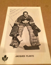 AUTOGRAPGHED JACQUES PLANTE LEAF POST CARD VERY RARE DECEASED HHOFER