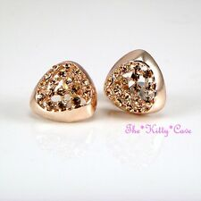 Rose Gold Plated Geometric Triangular Huggie Stud Earrings w/ Swarovski Crystals