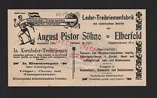 ELBERFELD, Anzeige 1909, August Pistor Söhne Leder-Treibriemen-Fabrik