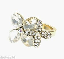 Katy Perry Gold Crystal Double Flower Ring Prism Collection Size 8 NWT