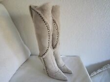 Jimmy Choo Beige  Suede Shearling Studded  High Heel Knee Boots Sz 37.5 Us 7