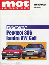 Sonderdruck mot 12/93 Test Peugeot 306 1.4i  VW Golf 1.6i reprint Auto PKWs 1993