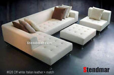 4pc Modern white leather sectional sofa set S4707LW