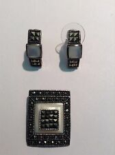 Sterling Silver Marcasite Mother Pearl Art Deco Earring and Pendant Set 925