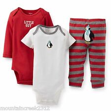 CARTER'S Boys 3 Piece Outfit Size Newborn PENGUIN Bodysuits Pant Set Baby NEW