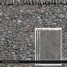 2 x SHEETS DRY STONE WALL WALLPAPER O GAUGE 1:43 MODEL RAILWAY BUILDINGS TX007