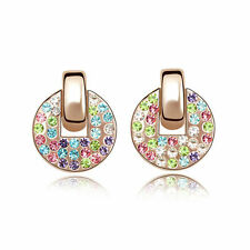 18k Gold Plated Multi Coloured Sparkly Czech Rhinestone Crystal Stud Earrings