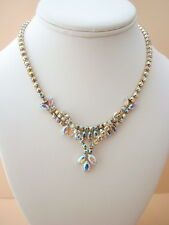 Vintage SHERMAN Signed Aurora Borealis Necklace with Marquis Overlay DangleDrop