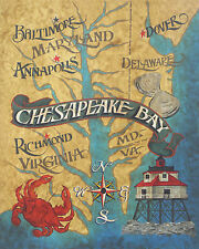 Chesapeake Bay  Map   Print vintage style  art decor  poster blue crab maryland