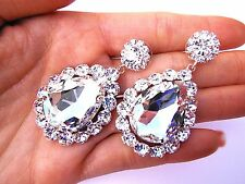 Clear Crystal Long Earrings Wedding Bride Bridal Fitness bikini Pageant Prom Gem
